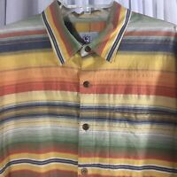 Territory Ahead mens XL short sleeve colorful striped cotton button down shirt
