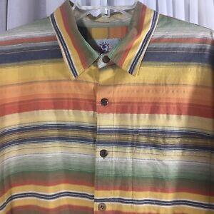 Territory Ahead mens XL short sleeve colorful striped cotton button down shirt