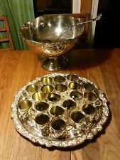 VINTAGE TOWLE SILVER PLATED  PUNCH BOWL, TRAY, 20 CUPS &  LADLE. ORIGINAL BOX.