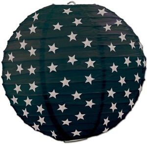 """3 Black Paper Lanterns with Silver Stars 9.5"""" Dia Wedding Party Decorations"""