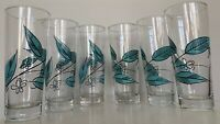 6 Vintage Biscayne Leaf Salem China Drinking Glass Turquoise Mid Century Modern