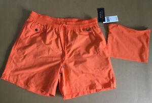NWT Polo Ralph Lauren Men's Lined Swim Trunks Size L With Nylon Zip Bag Orange