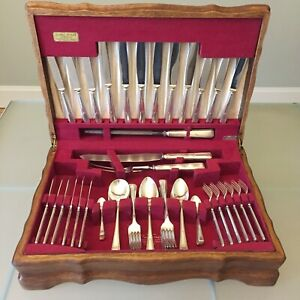 Vintage Sheffield Silver Plate Cutlery Canteen 63-Piece 6 Place Setting EPNS A1