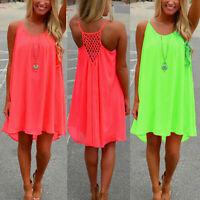 NE_ Sexy Women Beach Dress Summer Casual Sleeveless Strap Backless for Evening P