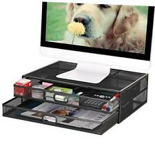 Monitor Stand Riser with Drawer - Metal Mesh Desk Organizer with Dual Black