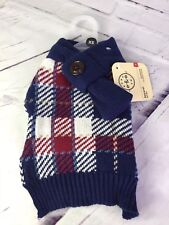 Bond & Co Navy Blue Red White Plaid Scarf Puppy Dog Sweater Size XS