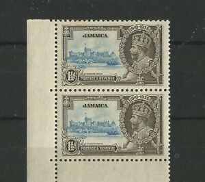 "JAMAICA 1935 SILVER JUBILEE SG 115 FINE UNMOUNTED MINT ""FLAGSTAFF FLAW"" IN PAIR"