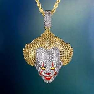 Solid Two Tone 925 Sterling Silver Evil Clown Pennywise IT movie Men's Pendants