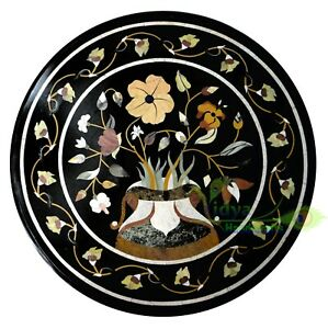 """30"""" Marble Center Table Top Round Table Multi Stone Mosaic Inlay Home Decor Gift"""