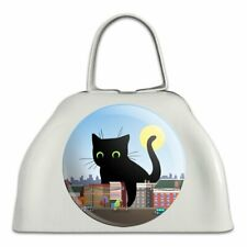 Giant Black Cat Playing with Cars White Metal Cowbell Cow Bell Instrument
