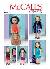 "694b076ace3 Vintage McCalls 4293 Toy Sewing Pattern M7639 20"" 46cm Dolls With Clothes  Cut"