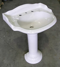 NEW - Old English Basin and Pedestal - 3 Tapholes White
