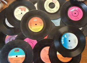 """Bundle of 17 x 1977-1979  assorted 7"""" singles, in fairly wrecked condition"""