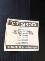 A1-4 Ephemera 1969 Advert Tesco Margate Butchers Cutters Cashiers