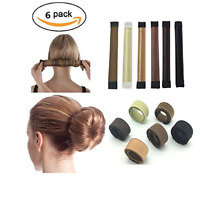 6 Pack Girls Hair Bun Maker French Twist Donut Bun Hairstyle Hair Fold Wrap Snap