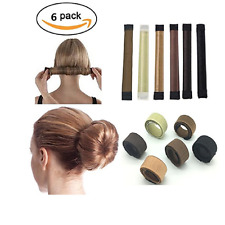6 Pack Girls Hair Bun Maker French Twist Donut Bun Hairstyle Hair Fold Wrap Snap