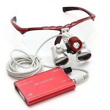 Red Dental Loupes 3.5X 420mm Surgical Medical Binocular with LED Head Light Lamp