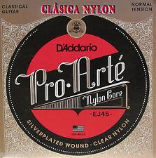 Juego de Cuerdas D'Addario ProArte EJ45 Guitarra Clásica Nylon Tensión: NORMAL