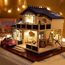 Wooden Kids Doll House with Lots Piece Furnitures LED Lights Cottage Dollhouse