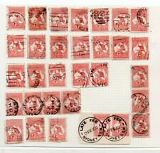 An unchecked 1d Red Australian Kangaroo Page with strip of 4, 3 & 2 Pairs