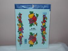 Vintage 1983 Decoral Handpainted Waterslide Decals Fruits  A-62 New Old Stock