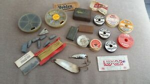 VINTAGE FRENCH FISHING ACCESSORIES INCL.OLIVETTES,SHOT ,HOOKS & LINE