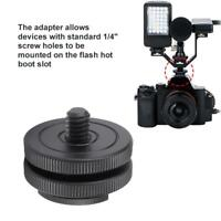 "Hot Cold Shoe Mount Adapter 1/4"" Tripod Screw to Flash Hot Shoe for DSLR Camera"