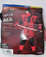 Complete Red Ninja Costume Boy Size 10 - 12 Large Halloween