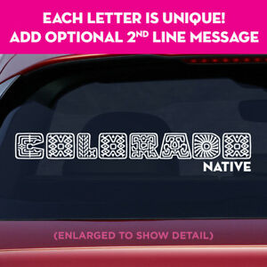 COLORADO state unique lettering vinyl decal sticker add message on 2nd line!
