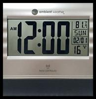 RC 9362 Atomic Digital Wall Clock W Temperature SILVER & BLACK FREE SHIPPING