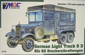 German Lights Truck G 3 Kfz.62 Druckereikraftwagen, MAC, 1:72, Plastic, New