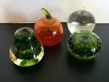 4 HEAVY Vintage Glass Fruit Paperweight Display Apples & Pears Bubble Glass