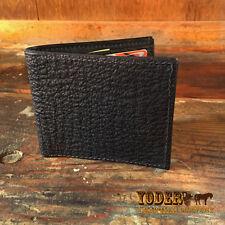 Black Bifold Shark Skin Amish Handmade Wallet - Genuine Sharkskin & Made in USA