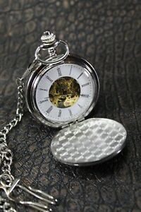 Exclusive Pocket Watch - Visible Timepiece - Chrome - Diamond Engraving - New -