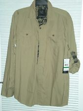 Modern Culture Tan Button Front Rollup Convertible Sleeve Camoflauge Trim Large