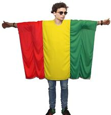 Rasta Flag Poncho OneSize Rastafarian Fancy Dress Legalize Weed Costume