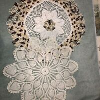 "Lot of 2 Vintage Handmade Crocheted Doilies 21"" Rd Ecru Brown Varigated and Ecru"