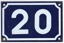 Old blue French house number 20 door gate plate plaque enamel steel metal sign