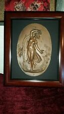Art Nouveau Bronze Relief of Woman Holding Wine Goblet, Vintage, Framed