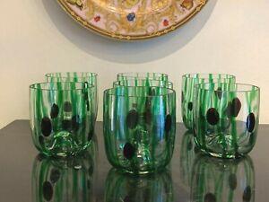 Vintage Murano Hand Blown Glass Green Tumblers