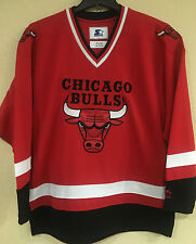 Chicago BULLS Men's Hockey Jersey by STARTER - Red Color Jersey - NBA Licensed