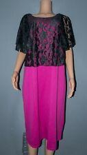New Elegant Lace Overlay Black - Fuchsia Dress Size 24 BNWT