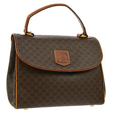 Authentic CELINE Macadam Pattern Hand Bag Brown PVC Leather Italy Vintage V12459