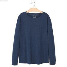 Mango Hombre Camiseta de manga larga Algodón azul tamaño mediano VR05 C25