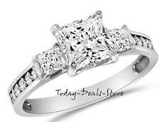 2.6 Ct Princess Cut Engagement Wedding Ring Three-Stone Solid 14K White Gold