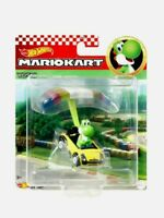 🔥Hot Wheels Mario Kart NEW! YOSHI SPORTS COUPE PARAFOIL Die-Cast Car w/ Glider