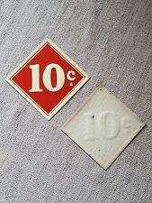Vintage Original 5 & 10 Cent Store Tin Metal 10 Cent Sign 3 1/4