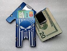 American Flag with Punisher, Aluminum Wallet/Card Holder RFID Protection Blue