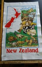 Vtg cotton linen tea towel New Zealand Wildlife Design by Derek