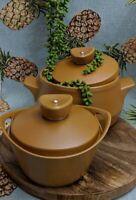 Vintage Set (2) Nefertiti Stoneware Pottery Casserole Pots w Lids By Diana MCM